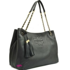 TORY BURCH THEA BLACK SOFT LEATHER TOTE SLOUCHY